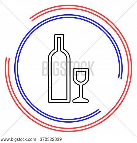Bottle And Glass Of Beer Icon. Beer And Pub, Bar Symbol. Sign. Flat Design. Thin Line Pictogram - Ou