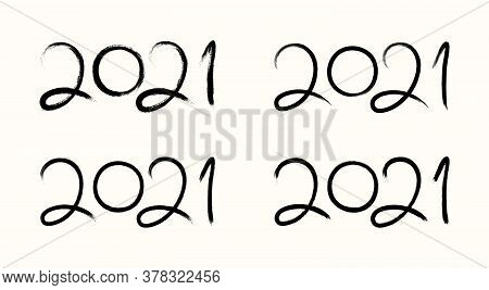 2021 New Year Hand Written Calligraphy Set, Isolated On White. Hand Drawn Vector Illustration. Brush