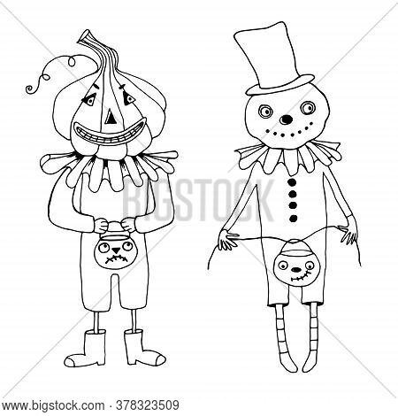 Mister Halloween Character, Mister Pumpkin On A White Background.