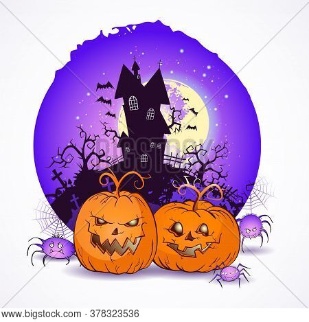 Halloween Vector Illustration With Pumpkins Heads And Spiders On The Night Sky Background Of The Ful