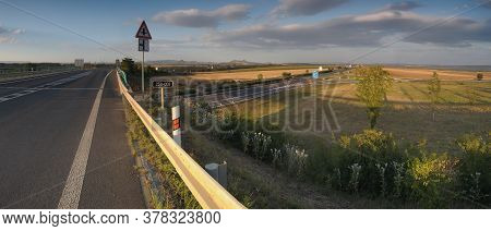 Road 250 And Highway D7 Near Czech Village Of Bitozeves On 21th July 2020