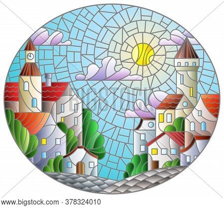 Illustration In Stained Glass Style, Urban Landscape,roofs And Trees Against The Day Sky And Sun, Ov