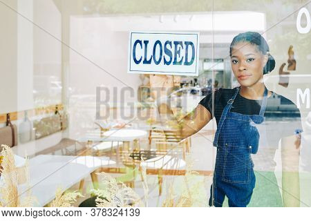 Sad Young Black Small Business Owner Has To Close Her Cafe Due Economic Crisis