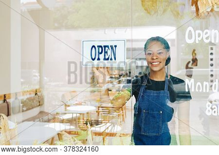Smiling Young Black Small Cafe Owner Happy To Open Bakery After Quarantine Period