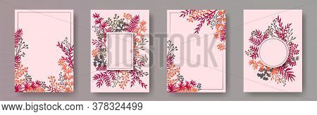 Watercolor Herb Twigs, Tree Branches, Leaves Floral Invitation Cards Set. Herbal Corners Vintage Inv
