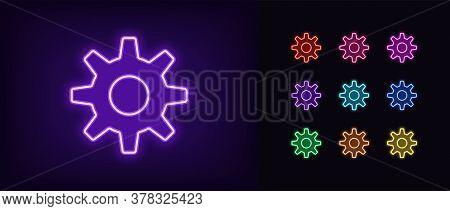 Neon Gear Icon. Glowing Neon Settings Sign, Gearwheel In Vivid Colors. Cogwheel, Adjustment Tool, Ap