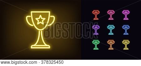 Neon Award Cup Icon. Glowing Neon Goblet Sign, Set Of Trophy In Vivid Colors. Winner, Esports Event,