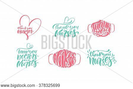 Set Thank You Nurses Lettering Vector Text With Mask On White Background. Illustration For Internati