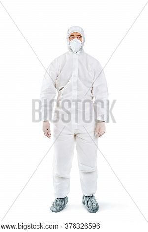 Full Length Portrait Of Doctor Wearing Ppe Isolated On White. Protection Suit