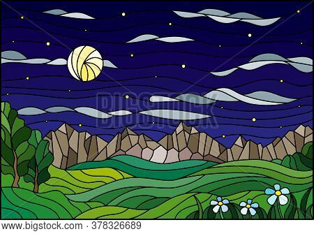 Illustration In Stained Glass Style With A Summer Landscape, Fields And Mountains Against A Starry S