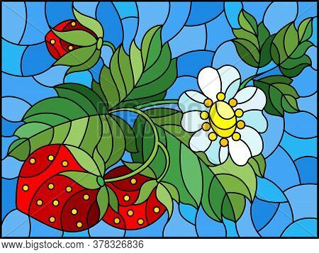 Stained Glass Illustration With Berries, Leaves And Strawberry Flowers On A Blue Background