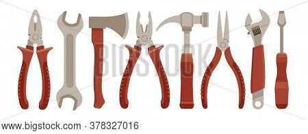 Set of working tools. Isolated on white background. Illustration.