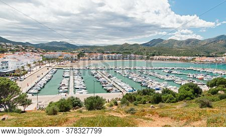 Yachts Parking Or Port With Yachts And Sailboats, View From Above. Mediterranean Village With Port