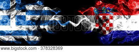 Greece Vs Croatia, Croatian Smoky Mystic Flags Placed Side By Side. Thick Colored Silky Abstract Smo