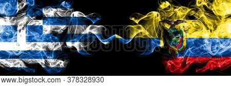 Greece Vs Ecuador, Ecuadorian Smoky Mystic Flags Placed Side By Side. Thick Colored Silky Abstract S