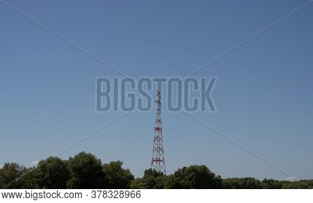 Highest Electricity Pylons, High Voltage Pylons In Europe On The Elbe Near Hamburg
