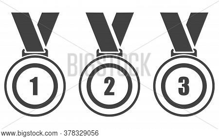 Sports Medal Icon. Set Of Black Icons Of Sports Medals Isolated On White Background. Vector Illustra