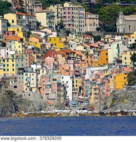 Colorful Town Of Riomaggiore At Cinque Terre Liguria Coast
