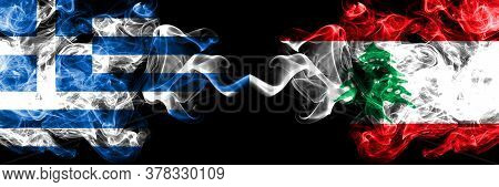 Greece Vs Lebanon, Lebanese Smoky Mystic Flags Placed Side By Side. Thick Colored Silky Abstract Smo