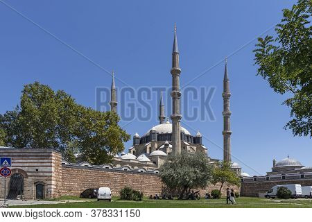 Edirne, Turkey - July 28, 2019: Built By Architect Mimar Sinan Between 1569 And 1575 Selimiye Mosque