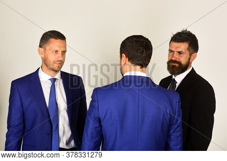Business And Compromise Concept. Men With Beard And Kind Faces