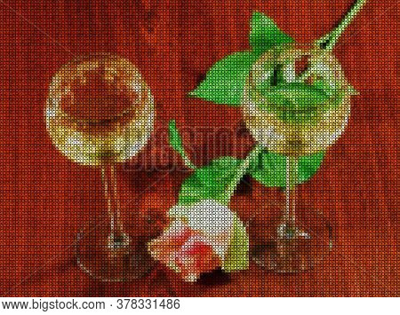 Illustrations. Cross-stitch. Two Elegant Glasses Of Wine And Delicate Flower Roses On A Dark Wooden