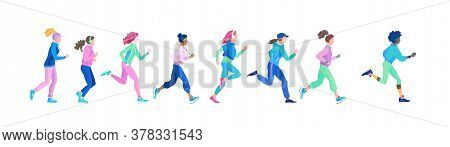 Set Of Young Healthy Women On Jogging. Vector Illustration In Cartoon Style Of Running Blond And Bru