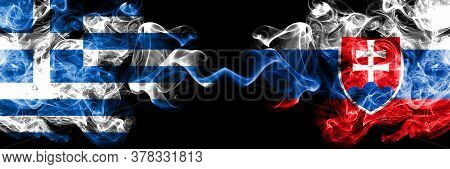Greece Vs Slovakia, Slovakian Smoky Mystic Flags Placed Side By Side. Thick Colored Silky Abstract S