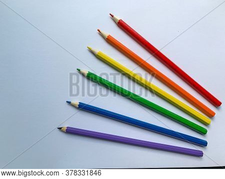 Colored Pencils Of Various Colors Close-up, Rainbow Colorful Selection, Equality Or Lgbt Gay Pride F