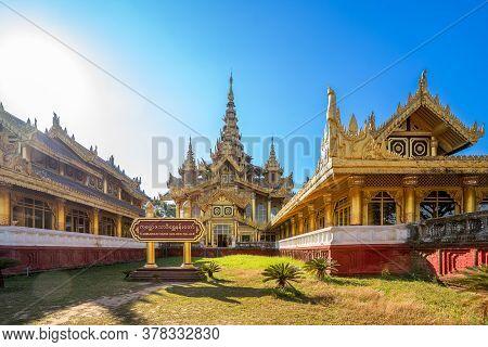 Bago, Myanmar - Dec. 1, 2019 : Kambazathadi Golden Palace In  Bago, Myanmar.