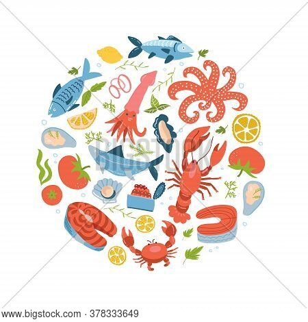 Seafood Icons Set In Round, Circle Flat Style. Sea Food Collection Isolated On White Background. Fis