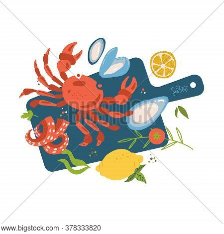 Sea Food Top View On Cutting Board. Fish Restaurant Seafood Dishes Food Cooked From Crab Meat, Oyste