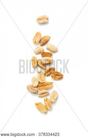 Salted and marinated peanuts on white background, including clipping path