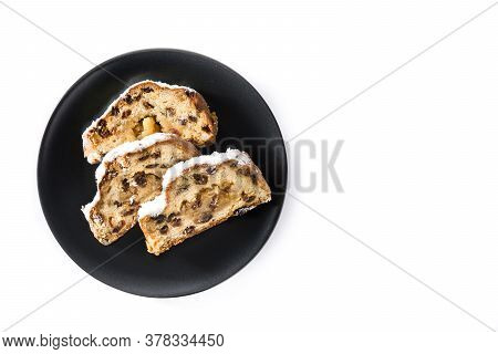 Christmas Stollen Fruit Slice Isolated On White Background. Top View. Copy Space