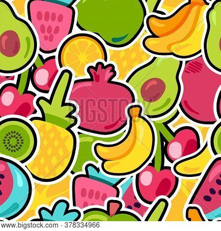 Fresh Berries Summer Fruits Mix Seamless Pattern