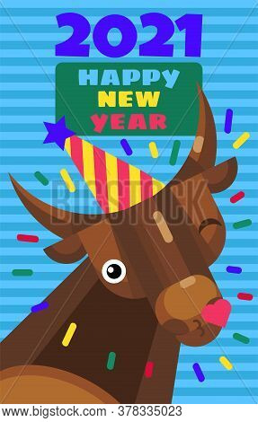 New Year 2021 Cute Greeting Card With Cartoon Bull