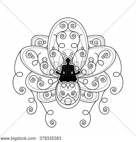 Human Silhouette With Lotus Flower Vector Template