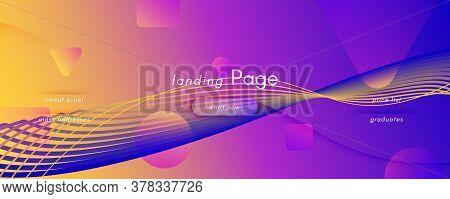 Fluid Abstract. Flow Movement. 3d Line Texture. Vector Gradient Wallpaper. Bright Business Website.