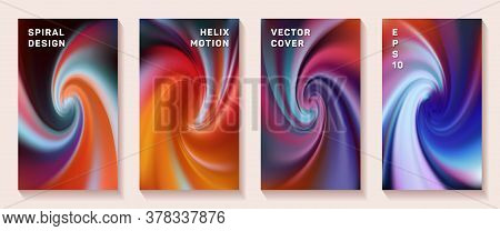 Gradient Helix Flexure Flow Cover Page Templates Vector Set. Soft Brochure Front Pages Collection. F