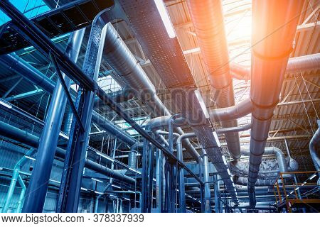 Air Conditioning Of Buildings. Background Of Ventilation Pipes.
