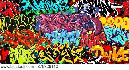 Colorful Graffiti Street Art Seamless Pattern. Vector Illustration