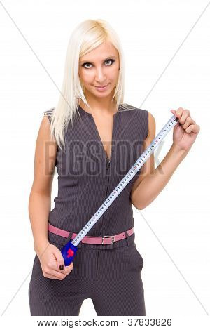 Beautiful Young Woman With Tapemeasure