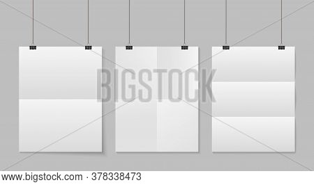 Paper Fold. Hang Poster On Rope. Mockup Of White Sheet Isolated On Transparent Background. Blank A4