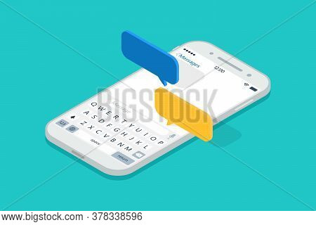 Isometric Smartphone With Messages Chat. Push Sms In Cellphone. 3d Notification In Mobile Screen. Sp