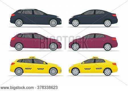 Car Taxi. Sedan, Hatchback, Cab, Suv. Luxury Auto Mockup In Side. Realistic Vehicle Isolated On Whit