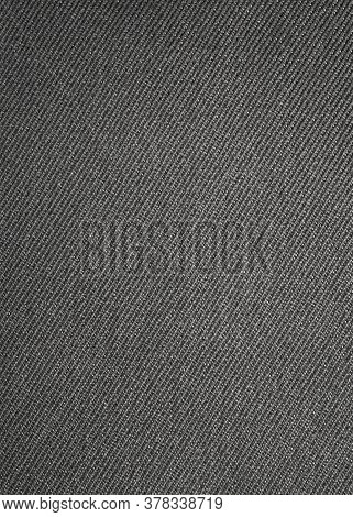 The Texture Of Dark Gray Fabric Is Fluted In Stripes.background Of Dense Gray Fabric.