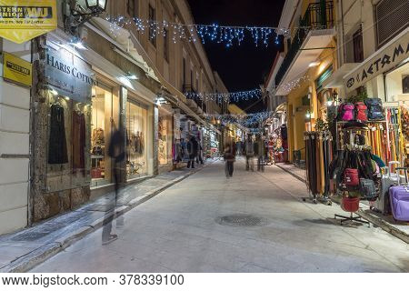 Athens, Greece - January 19, 2017:  Night Photo Of Street In Old Town Of Plaka, Athens, Attica, Gree