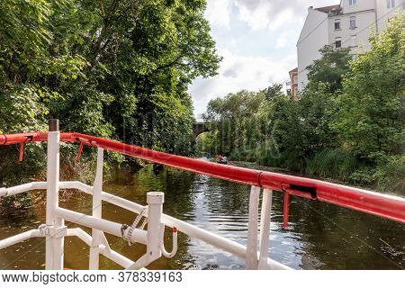 By Boat On The Karl Heine Kanal In Leipzig. Saxony. Germany. This Is A Wonderful Place For Water Spo