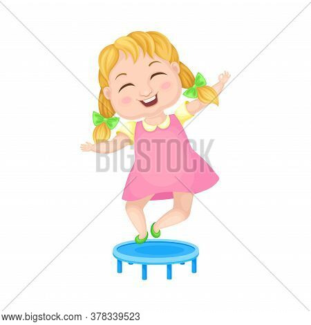 Girl Character With Braided Hairstyle Jumping On Trampoline Vector Illustration