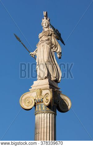 Athens, Greece - January 19,  2017: Athena Statue In Front Of Academy Of Athens, Attica, Greece